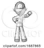 Sketch Firefighter Fireman Man Waving Left Arm With Hand On Hip