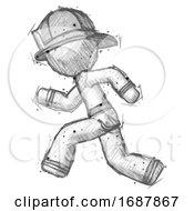Poster, Art Print Of Sketch Firefighter Fireman Man Running Fast Left