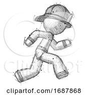 Poster, Art Print Of Sketch Firefighter Fireman Man Running Fast Right