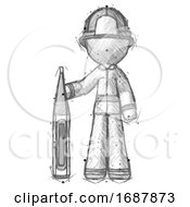 Sketch Firefighter Fireman Man Standing With Large Thermometer