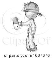 Sketch Firefighter Fireman Man Holding Pill Walking To Left