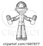 Sketch Firefighter Fireman Man Holding Pills