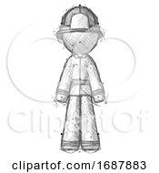 Sketch Firefighter Fireman Man Standing Facing Forward