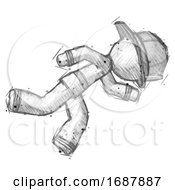 Sketch Firefighter Fireman Man Running While Falling Down