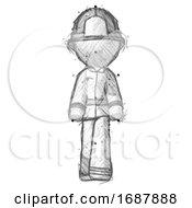 Sketch Firefighter Fireman Man Walking Front View