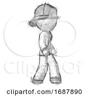 Sketch Firefighter Fireman Man Walking Turned Right Front View
