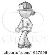 Sketch Firefighter Fireman Man Man Walking Turned Left Front View