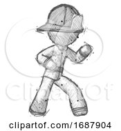 Sketch Firefighter Fireman Man Martial Arts Defense Pose Right