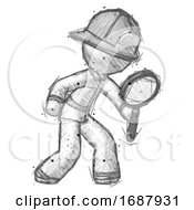 Sketch Firefighter Fireman Man Inspecting With Large Magnifying Glass Right