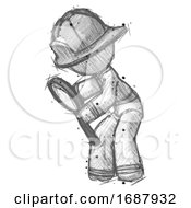 Sketch Firefighter Fireman Man Inspecting With Large Magnifying Glass Left