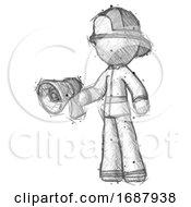 Sketch Firefighter Fireman Man Holding Megaphone Bullhorn Facing Right