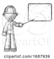 Sketch Firefighter Fireman Man Giving Presentation In Front Of Dry Erase Board