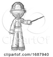 Poster, Art Print Of Sketch Firefighter Fireman Man Teacher Or Conductor With Stick Or Baton Directing