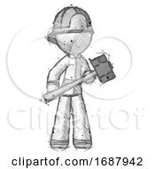 Sketch Firefighter Fireman Man With Sledgehammer Standing Ready To Work Or Defend