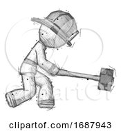 Sketch Firefighter Fireman Man Hitting With Sledgehammer Or Smashing Something