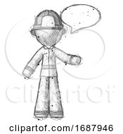 Sketch Firefighter Fireman Man With Word Bubble Talking Chat Icon