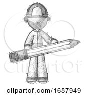 Sketch Firefighter Fireman Man Writer Or Blogger Holding Large Pencil