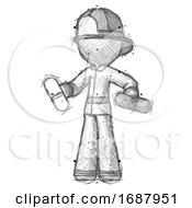 Sketch Firefighter Fireman Man Pills