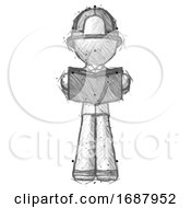 Poster, Art Print Of Sketch Firefighter Fireman Man Reading Book While Standing Up Facing Viewer
