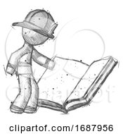 Poster, Art Print Of Sketch Firefighter Fireman Man Reading Big Book While Standing Beside It
