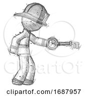 Sketch Firefighter Fireman Man With Big Key Of Gold Opening Something