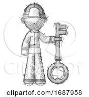 Sketch Firefighter Fireman Man Holding Key Made Of Gold