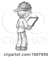 Sketch Firefighter Fireman Man Looking At Tablet Device Computer Facing Away