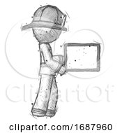 Sketch Firefighter Fireman Man Show Tablet Device Computer To Viewer Blank Area
