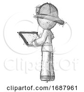 Sketch Firefighter Fireman Man Looking At Tablet Device Computer With Back To Viewer