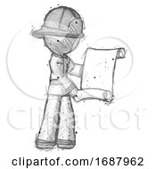 Sketch Firefighter Fireman Man Holding Blueprints Or Scroll