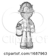 Sketch Firefighter Fireman Man Begger Holding Can Begging Or Asking For Charity