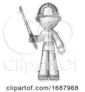 Sketch Firefighter Fireman Man Standing Up With Ninja Sword Katana
