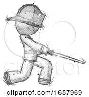 Sketch Firefighter Fireman Man With Ninja Sword Katana Slicing Or Striking Something
