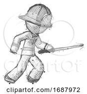 Sketch Firefighter Fireman Man Stabbing With Ninja Sword Katana