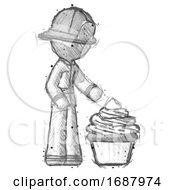Sketch Firefighter Fireman Man With Giant Cupcake Dessert