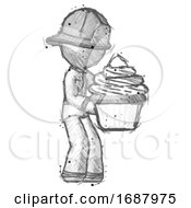 Sketch Firefighter Fireman Man Holding Large Cupcake Ready To Eat Or Serve