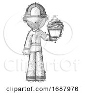 Sketch Firefighter Fireman Man Presenting Pink Cupcake To Viewer