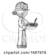 Sketch Firefighter Fireman Man Holding Noodles Offering To Viewer