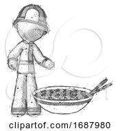 Sketch Firefighter Fireman Man And Noodle Bowl Giant Soup Restaraunt Concept