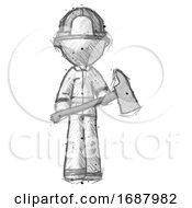 Sketch Firefighter Fireman Man Holding Fire FighterS Ax