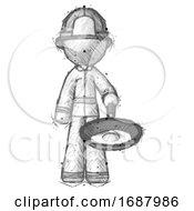 Sketch Firefighter Fireman Man Frying Egg In Pan Or Wok