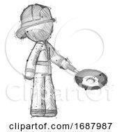 Poster, Art Print Of Sketch Firefighter Fireman Man Frying Egg In Pan Or Wok Facing Right