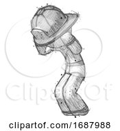 Sketch Firefighter Fireman Man With Headache Or Covering Ears Turned To His Left