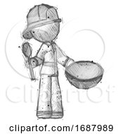 Sketch Firefighter Fireman Man With Empty Bowl And Spoon Ready To Make Something