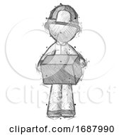 Sketch Firefighter Fireman Man Holding Box Sent Or Arriving In Mail