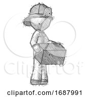 Sketch Firefighter Fireman Man Holding Package To Send Or Recieve In Mail