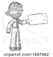 Sketch Firefighter Fireman Man Holding Large Envelope