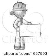 Sketch Firefighter Fireman Man Presenting Large Envelope
