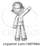 Sketch Firefighter Fireman Man Waving Emphatically With Left Arm