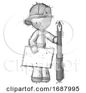 Poster, Art Print Of Sketch Firefighter Fireman Man Holding Large Envelope And Calligraphy Pen